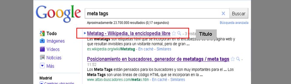 La meta tag title es la que aparece como título en los resultados que muestran los buscadores