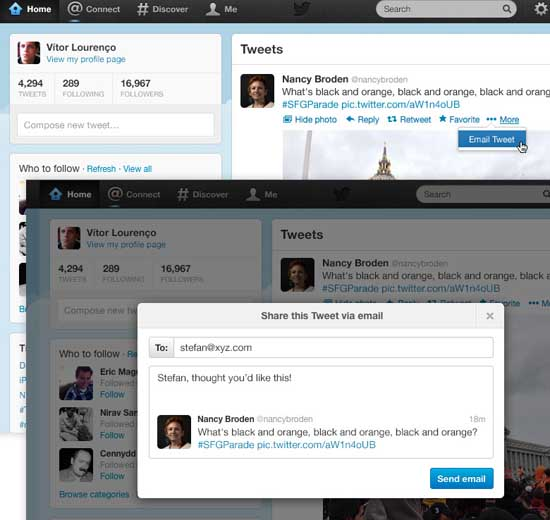 Twitter permitirá compartir tweets por correo electrónico
