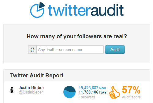 Twitter Audit Justin Bieber