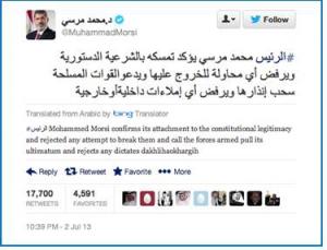 Perfile en Twitter de Muhammad Morsi
