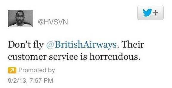 Twitter patrocinado British Airways