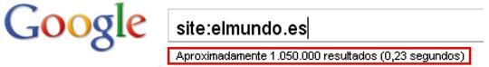 Número de páginas del sitio web indexadas en Google