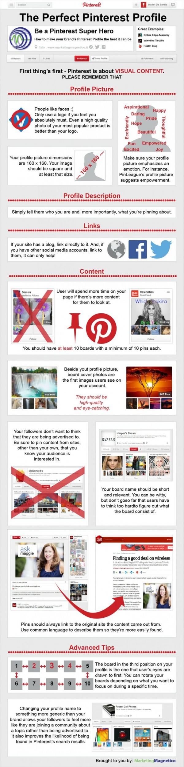Consejos para un mejor perfil en Pinterest
