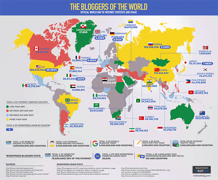Mapa de estadísticas a nivel mundial de Internet