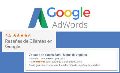 Valoraciones de clientes en los anuncios de Google