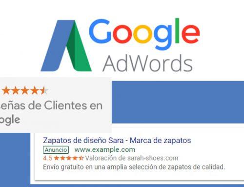 Valoraciones de clientes en los anuncios de Google Adwords