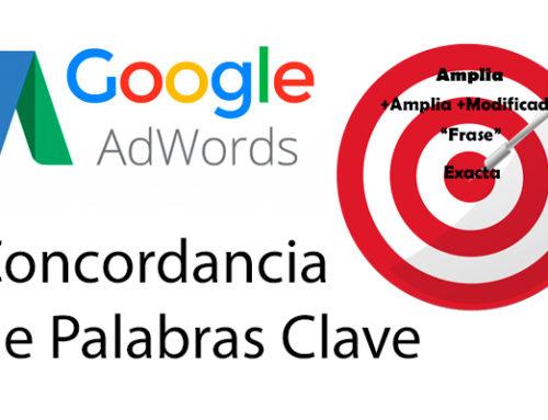Concordancia de las palabras clave en AdWords