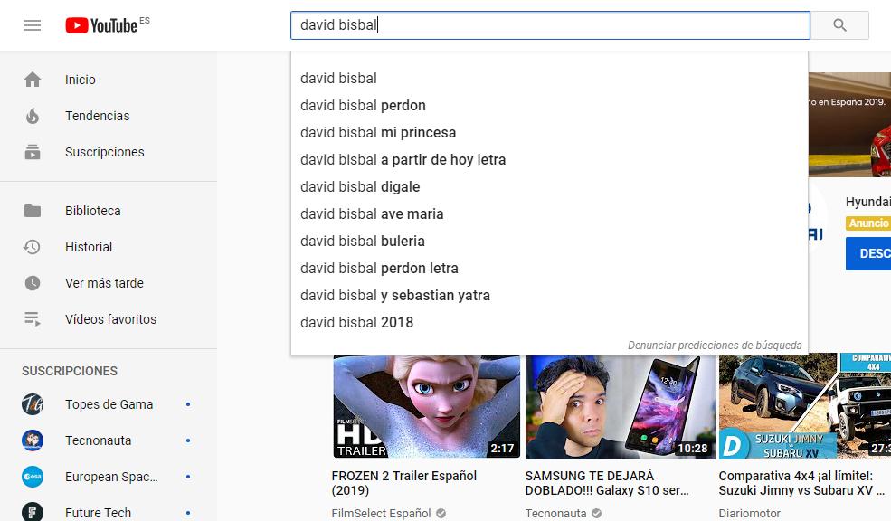 palabras sugeridas youtube